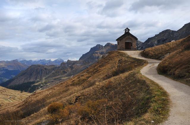 Road to the Chapel on Pordoi Pass