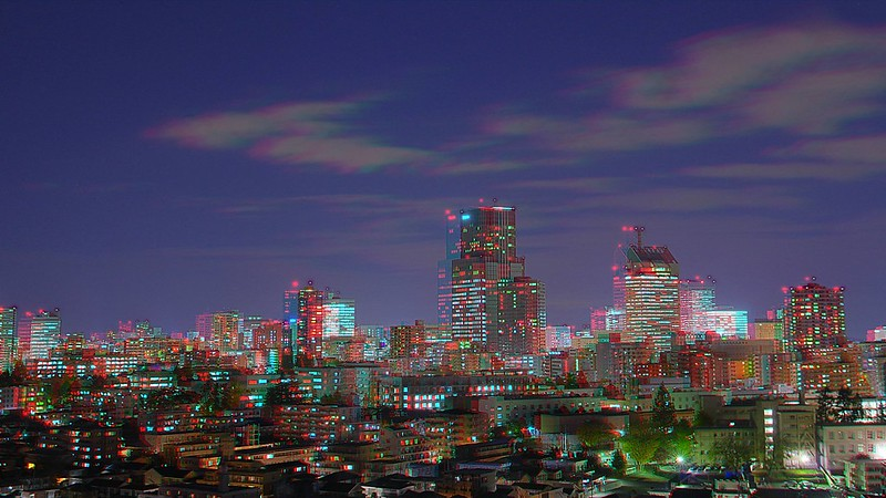 Night view of central of Sendai, HDR, anaglyph