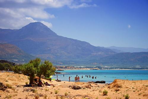 falasarna falassarna crete kriti kreta greece greek beach sand hill mountain tree people holiday landscape view nature blue yellow sea water relaxing summer mood