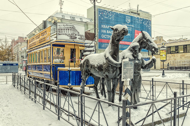 The monument to horse tram (konka) in Saint Petersburg.