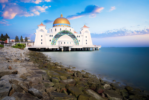 architecture asia asian beach blue building city cloud day dome floating historical islam islamic landmark landscape malacca malaysia masjid melaka mosque muslim outdoor pulau religion religious scene scenery sea selat sky spiritual strait symbol tour tourism unesco view white my
