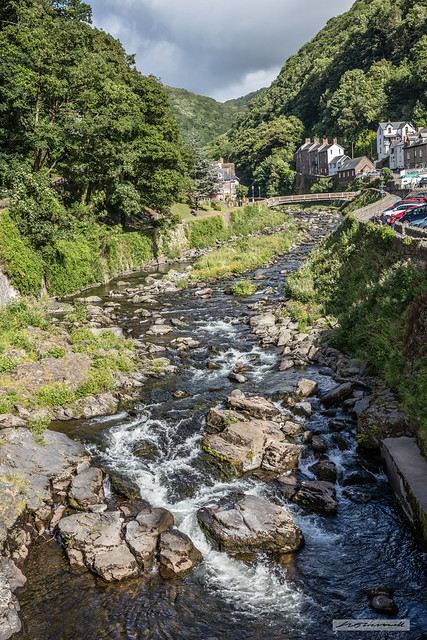 The deep, beautiful, wooded river valley leading to Lynmouth Harbour.