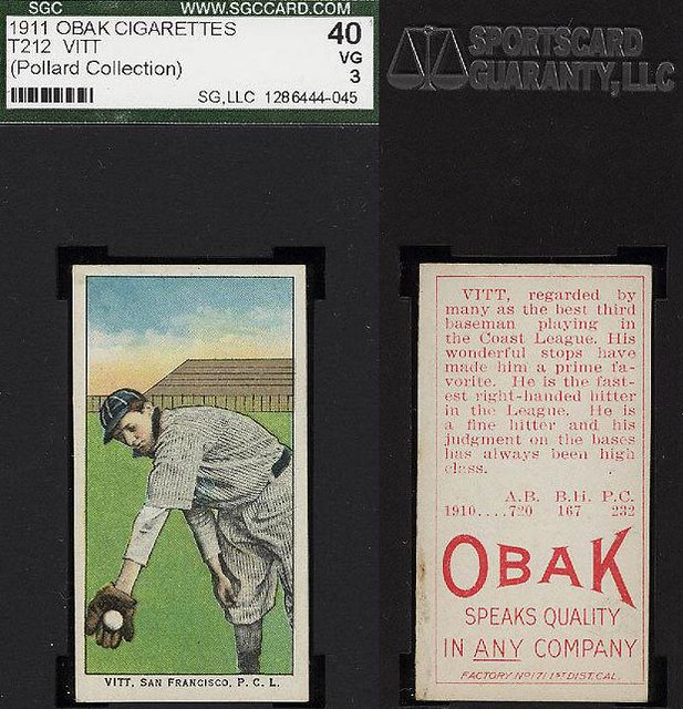 1911 T212-3 Obak Cigarettes - OSCAR