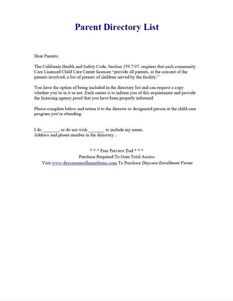 Daycare Parent Directory List
