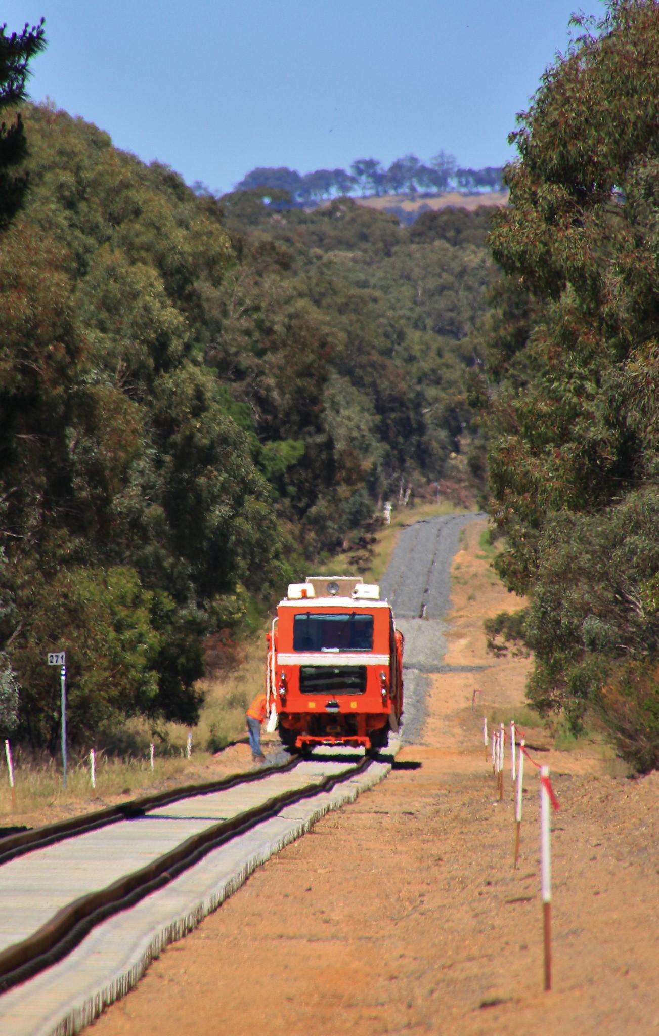 Track machine working on the newly relayed Ararat to Maryborough line by bukk05