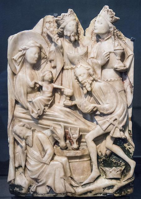 Adoration of the Magi. Medieval English alabaster, 15th century. Rouen, Musée des Antiquités de la Seine-Maritime.