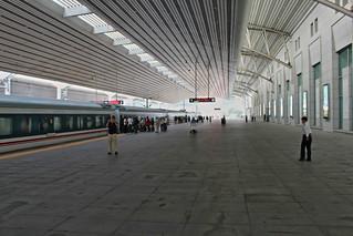 Train to Pyongyang at Dandong train station   by Timon91