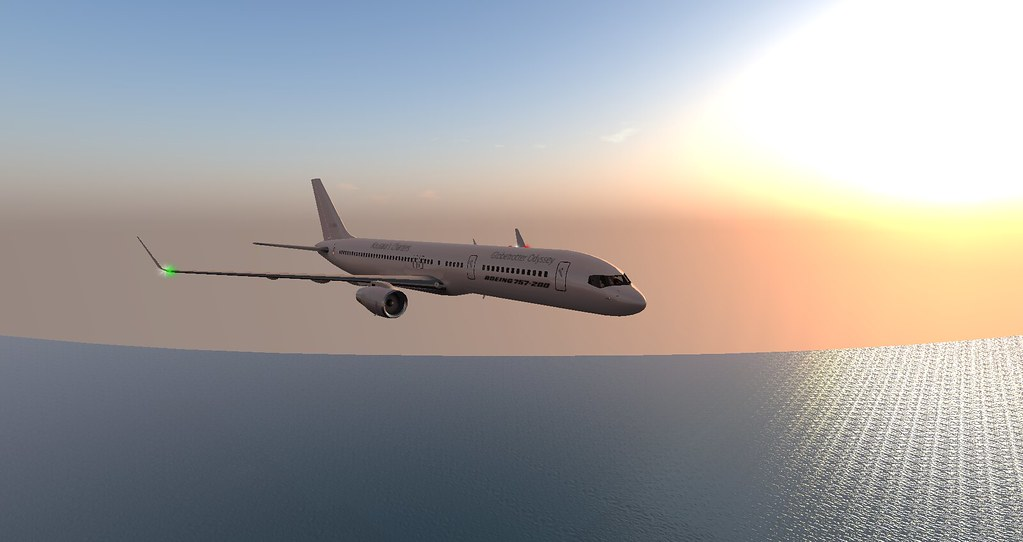 My Kousara's Charters Boeing 757-200 flying over the sunset skies