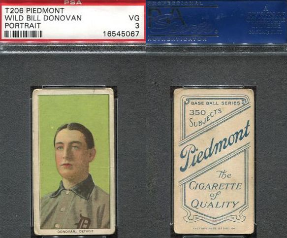 1909-11 / T206 White Border - WILD BILL DONOVAN (Portrait) (Pitcher) - Detroit Tigers (PSA Certified) (1910 / Piedmont 350 / 25 Back) Tobacco / Cigarette Baseball Card (#131)