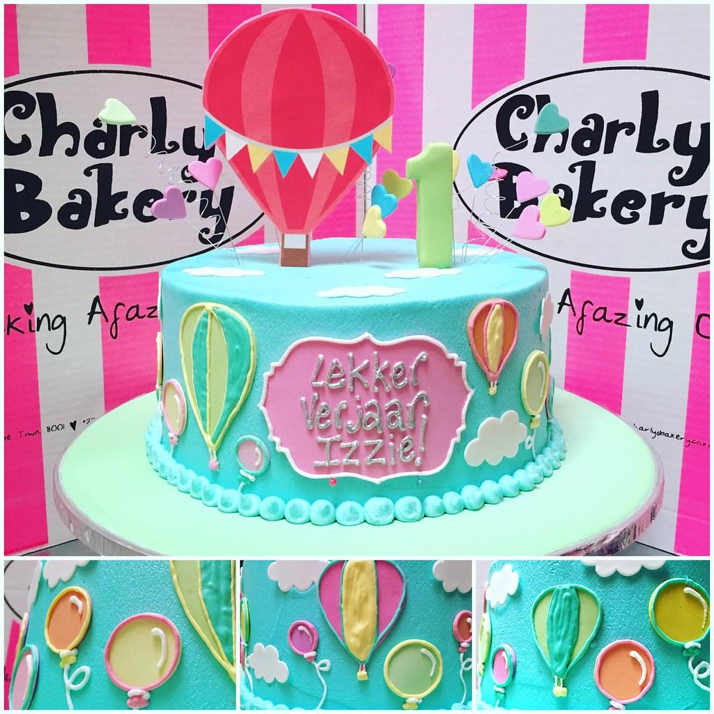 Groovy Single Tier Hot Air Balloon Themed 1St Birthday Cake Iced Flickr Funny Birthday Cards Online Necthendildamsfinfo