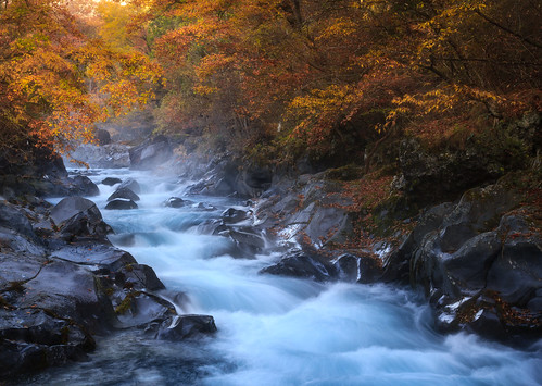 fall river morning foggy dreamy landscape japan nikko abyss