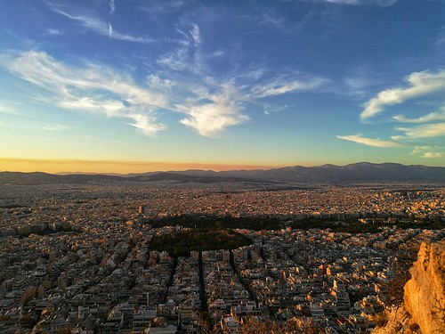 athens golden hour greece lykavittos hill view panorama city cityscape clouds building horizon sky mountain