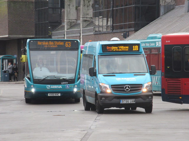Arriva Surrey 4216 KX61KHC On Route 36 And 1001 BT66UAM On Route 18 At Gulidford Bus Station