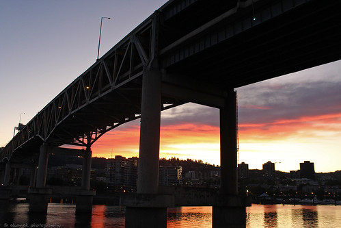 bridge sunset portland oregon pordosol urban cidade urbano eua usa estadosunidos river rio