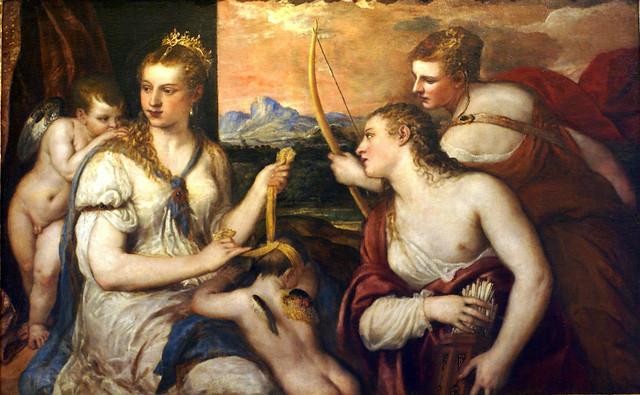 Rom, Galleria Borghese, Tizian, Venus verbindet Amor die Augen / Titian, Venus blindfolding Cupid / Tiziano, Venere che benda amore