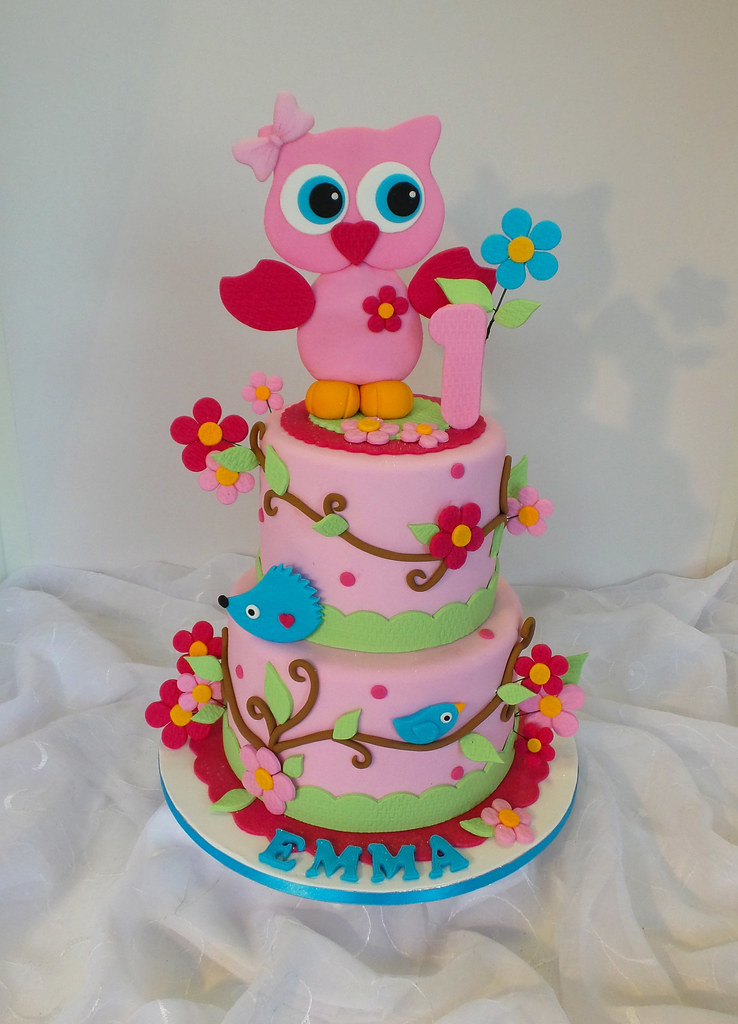 Strange Owl Themed Birthday Cake Design Was Brought In By Client Flickr Birthday Cards Printable Nowaargucafe Filternl