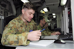 Australian Army Capt. Kevin Jolley is one of 260 augmentees who recently checked in aboard the U.S. 7th Fleet flagship USS Blue Ridge (LCC 19) prior to exercise Talisman Sabre. (U.S. Navy/MC2 Indra Bosko)