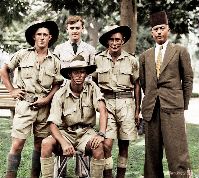 Early October 1942 - Australian Army 2/17 Infantry Battalion troops & a British RAF NCO with a local Egyptian resident, during a 5 day leave pass in Alexandria, Egypt (colorized version)