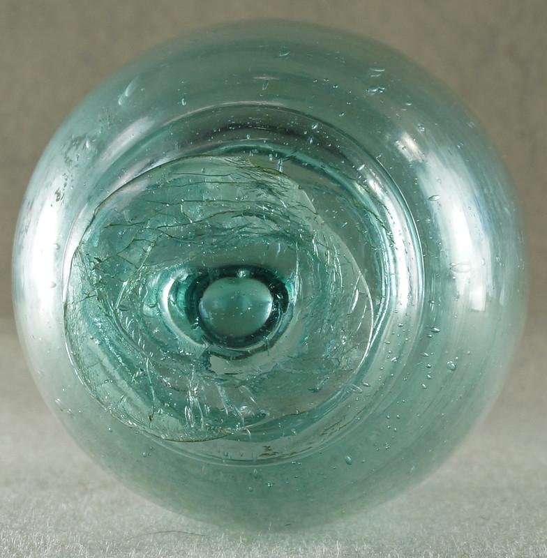 RD18157 Japanese Glass Fishing Float DEEP TEAL Roller FATTY BLUE-GREEN 6 inch Rolling Pin DSC02779