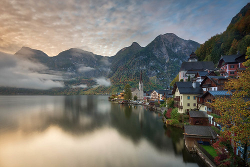 art austria caughtinpixels clouds country elevatedview fall fineart fineartphotography hallstatt hallstättersee highrise highangleview historic historiccentre jacobsurland lake landscape light reflections travel traveldestination travelandtourism tree trees unescoworldheritagesite warmlight water