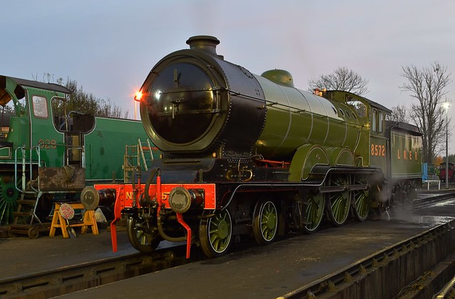 B12 Loco 8572 on shed at  Sheffield Park, for end of day disposal. Bluebell Railway Giants of Steam Gala. 30 10 2016