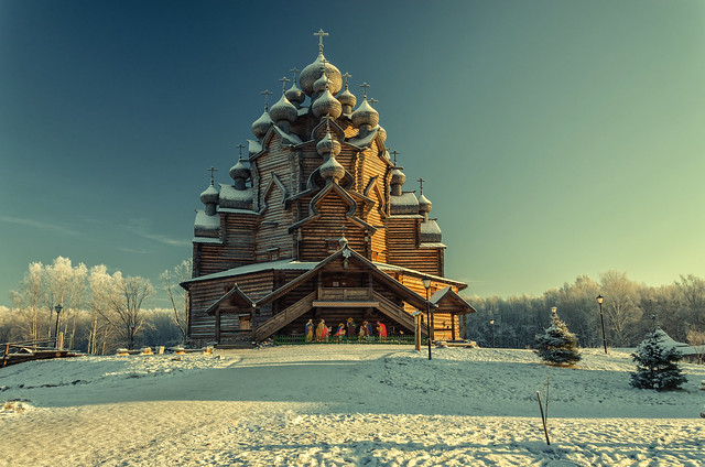 Russia, Saint Petersburg suburbs. A winter view of the of Pokrovskaya church at Bogoslovka manor in the Christmas time.