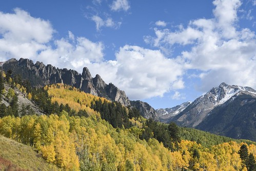 nikon d500 landscape nature fall aspen trees blue sky mountains