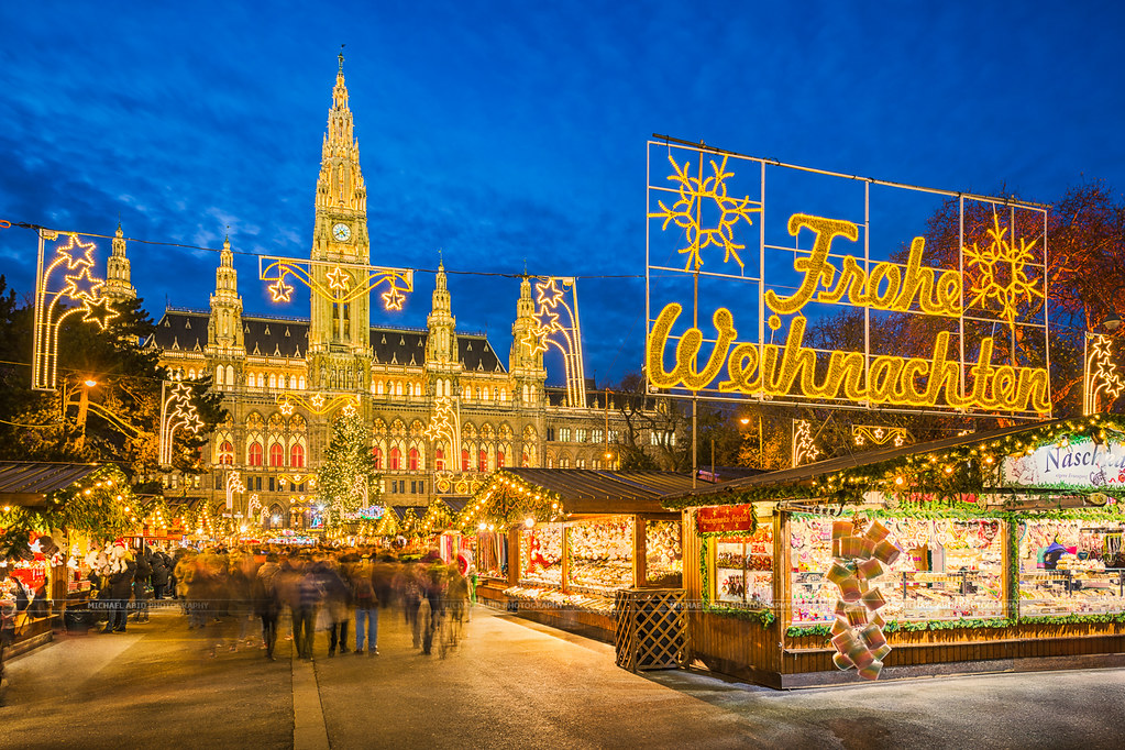 Vienna Christmas Market.Christmas Market In Vienna Christmas Market In Front Of Th