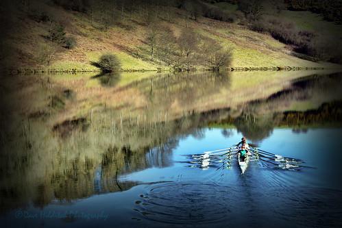 somerset exmoor lake reservoir boat rowing oarsmen reflections ars