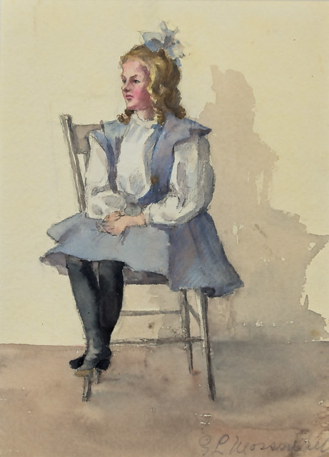 Watercolor of a child sitting on chair (cropped)