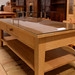 Pine rectangle coffee table glass top E80
