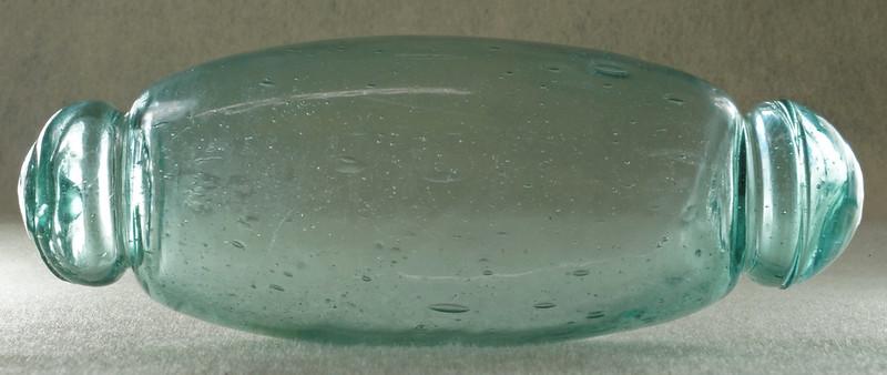 RD18157 Japanese Glass Fishing Float DEEP TEAL Roller FATTY BLUE-GREEN 6 inch Rolling Pin DSC02776