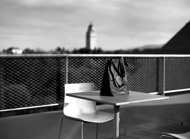 Bag, chair, and table