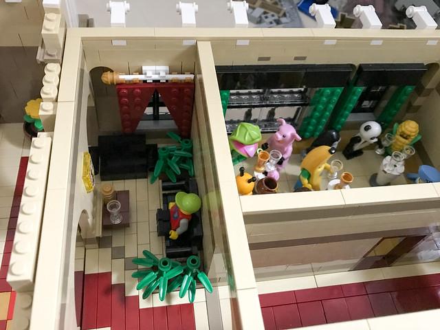 Hotel lobby and mascots