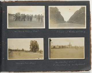 Wellbeck Abbey Oval and Worcester Oval, England. Scenes of travel, Australian XI cricketers and cricket matches.