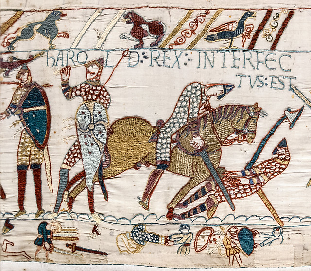 Teppich von Bayeux, Tod des Königs Harold Godwinson in der Schalacht von Hastings - Tapestry of Bayeux, The death of King Harold Godwinson at the Battle of Hastings