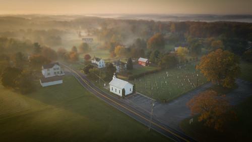 dji drone morning sunrise mountairy maryland unitedstates us church hill landscape autumn fall grass sky tree road cemetery fag