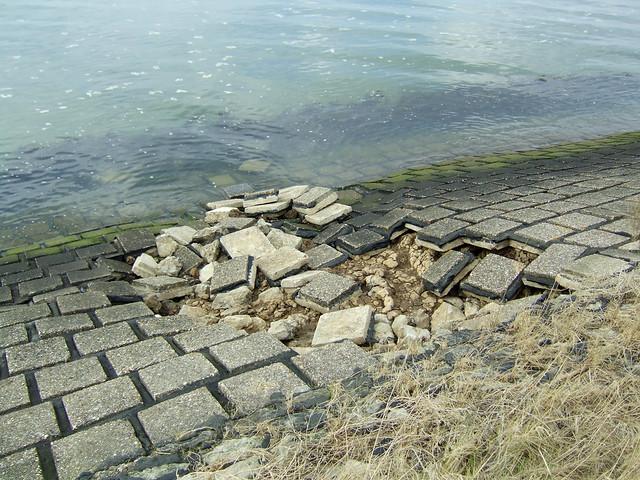 Eroding sea wall near Steeple