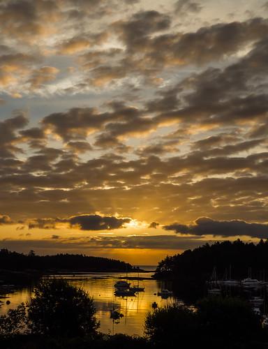 gabriola island marina view sunrise sky sun rays clouds water boats trees silhouettes raw processed lr612 golden reflections 8140387 serene epicshots