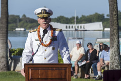 Pacific Fleet Commander, Adm. Scott Swift, delivers remarks during the 76th Anniversary of the attacks on Pearl Harbor and Oahu at Joint Base Pearl Harbor-Hickam, Dec. 7. (U.S. Navy/MC2 Somers Steelman)