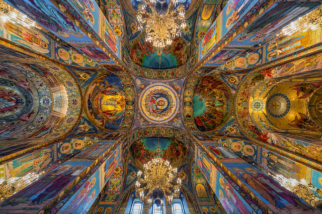 Interior of The church of the Saviour of spilled blood.