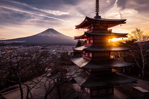 photo architecture fuji mount landscape sunset travel chureito photography fujiyoshida sky pagoda landmark japan geotagged clouds fujiyoshidashi yamanashiken jp onsale portfolio