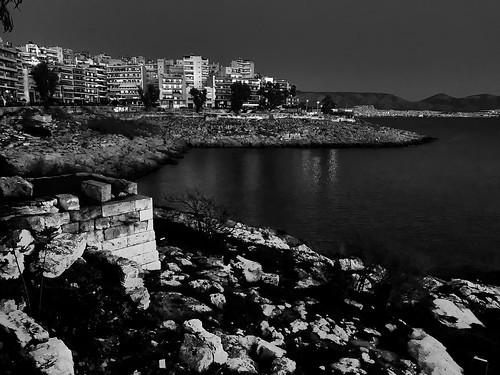 blackandwhite ancient history night water black white downtown archaeological walls ruins sea piraeus coast greece conon athens athenians longwalls themistoclean road pavement strolling rocks