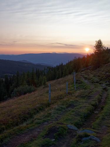 austria styria carinthia weinebene sunset fence path mountain mountainpass landscape hiking trees