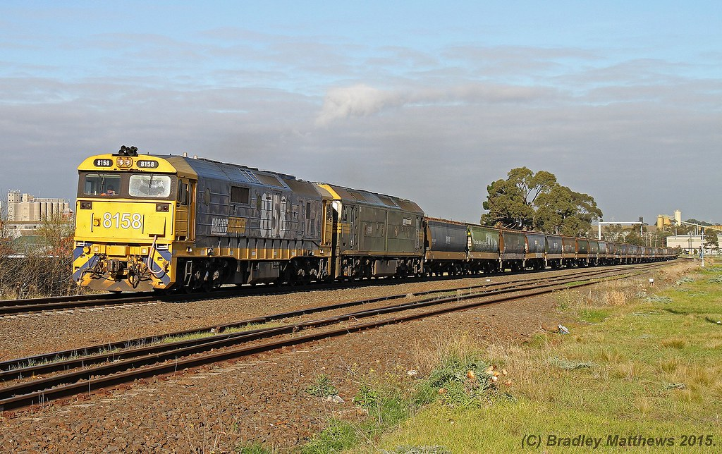 8158-G520 with 5MC6 from Appleton Dock to McIntyre Loop, later to Yarrawonga at Albion Junction (11/6/2015) by Bradley Matthews