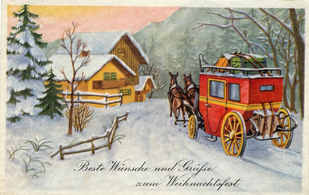 alte weihnachtskarte verschickt am von oberha. Black Bedroom Furniture Sets. Home Design Ideas