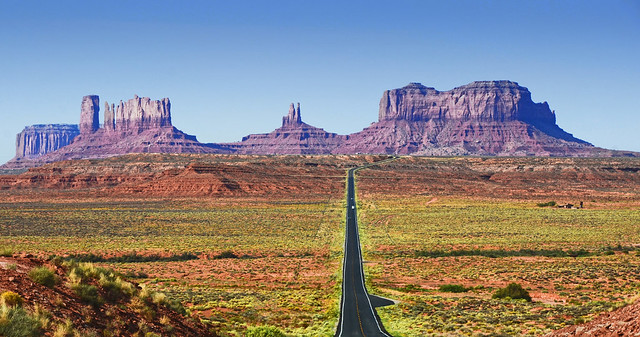 The long open road through Monument Valley, Utah