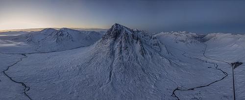 buachailleetivemor snow winter glencoe drone mavic sunrise