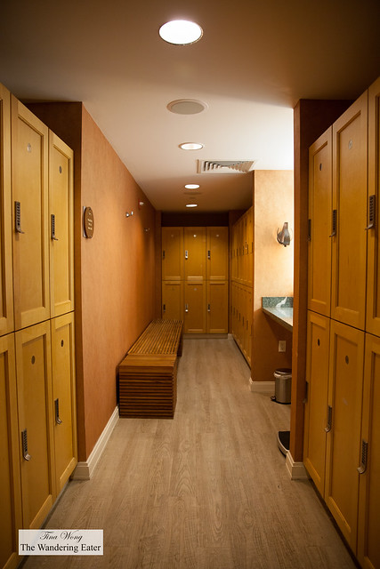 Locker room area of Exhale's spa