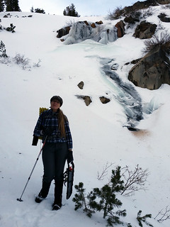 Ingrid in front of Galena Creek Waterfall in winter | by simonov